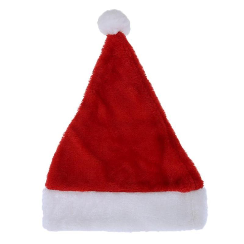 Christmas Hat Santa Claus Short Fluff Hat Adult Kids Children Christmas  Decorations for Home Merry Happy New Year