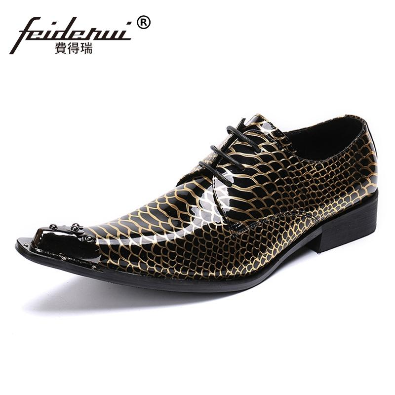 9fb8020042f Luxury Italian Designer Pointed Toe Man Formal Dress Loafers Patent Leather  Metal Trim Men s Wedding Party Derby Shoes SL406