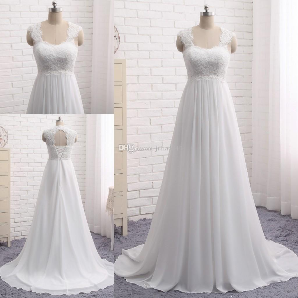Discount 2018 Modest A Line Wedding Dresses Lace Applique Beach