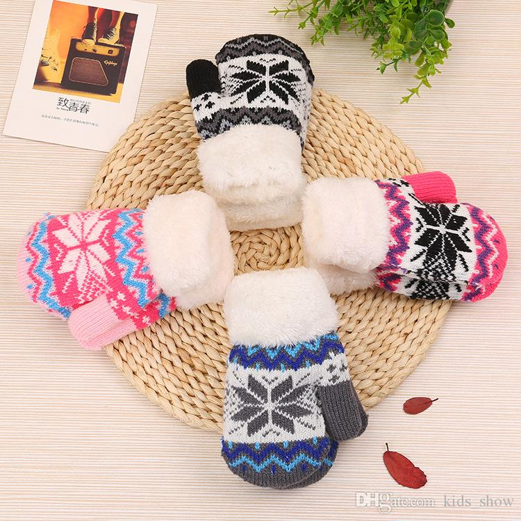 df631feea Thicken Baby Knitted Mittens Kids Outdoor Ski Gloves Soft Winter ...