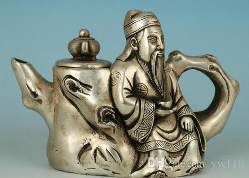 Asian Chinese Old Copper Plating Silver Buddha Wine God Teapot Statue