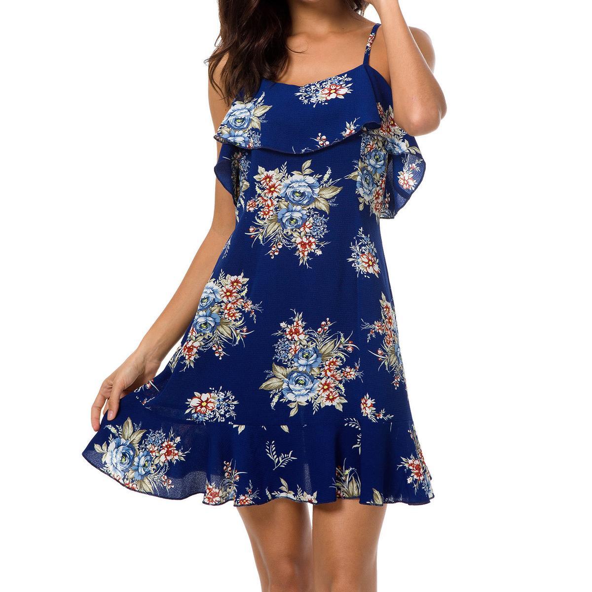 bdfda112 Girls Kawaii Beach Ruffles Floral Printed Mini Dress Female Boho Sundress  Women Spaghetti Strap Backless Plus Size Dresses GV897 Beaded Dress Couture  ...