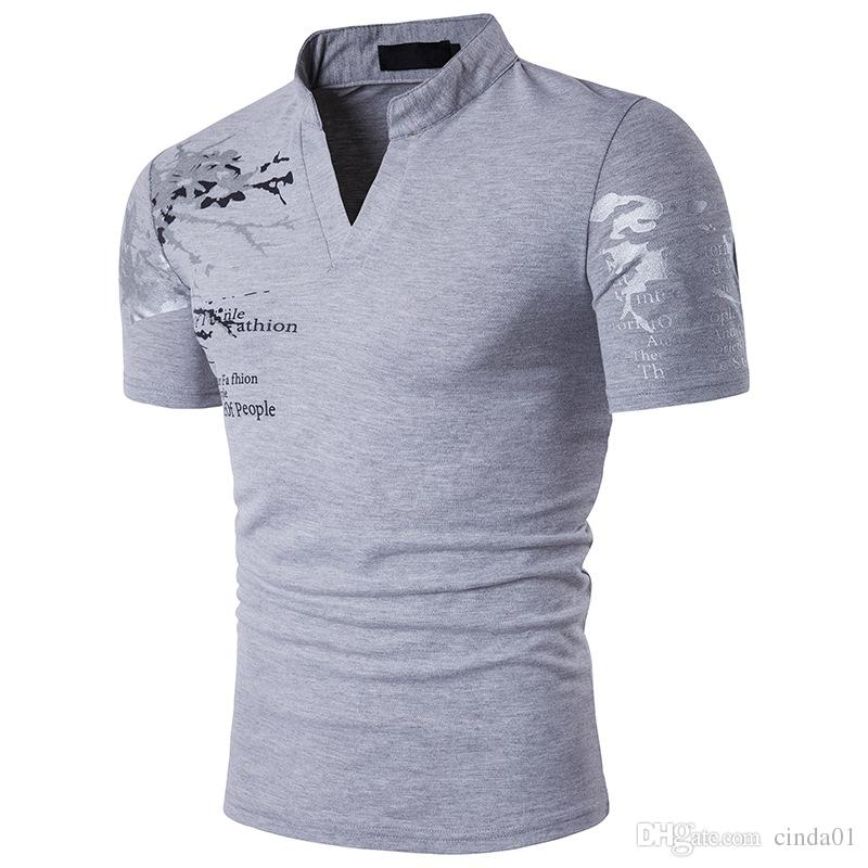Summer Plus Size Men  Shirt Classic Printed Design V-neck Short Sleeves Stand Collar Top Clothing