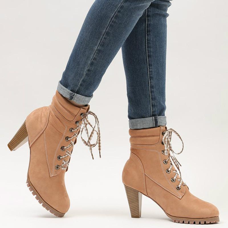 Compre Botas Cortas De Cuero Para Dama Moda Con Cordones Y Correas Zapatos  De Tacón Alto Botas De Invierno Para Mujer A  43.59 Del Camelino  2a9ae24b0a9c