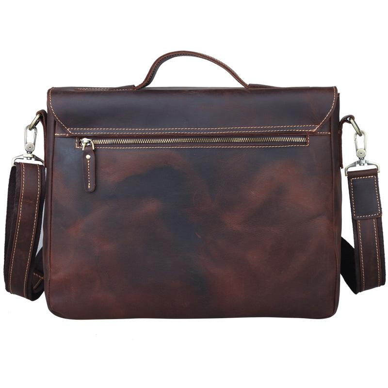 Men Briefcase Fit For 13 Inch Laptop Genuine Leather Male Vintage Cowhide Man Tote Business Handbag Shoulder Bag PR581062