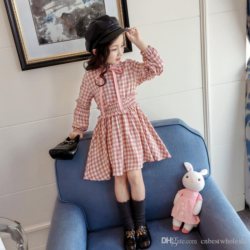 59467b8ca3f6 Autumn Baby Girl Clothes Plaid Dresses Kids Girls Princess Bow Dress ...