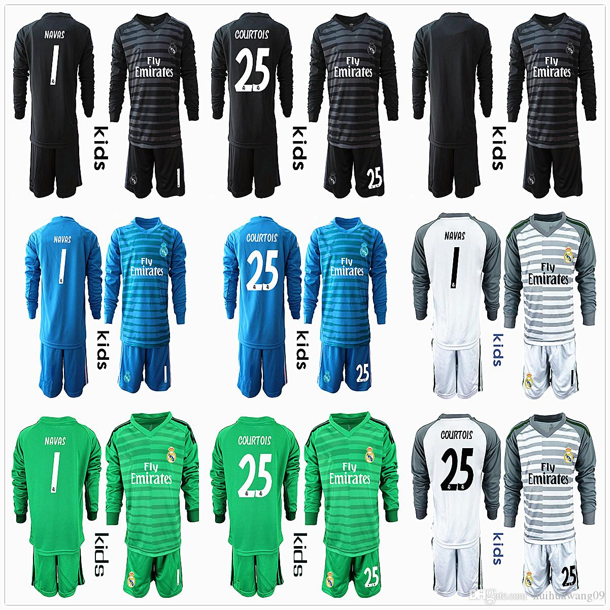 20c65cd5403 2019 2019 2018 Kids Youth Long 1 NAVAS 25 Courtois Real Madrid Jerseys  Goalkeeper Soccer Sets Kits Boy Benzema Bale Children Football Uniform From  ...