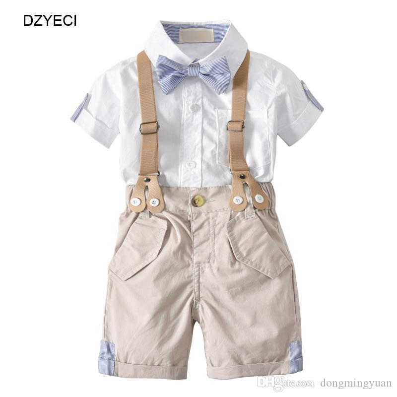 98fb8d1463e0 Summer Baby Boy Set Clothes Gentleman Suits For Kid Bow Tie Shirt ...