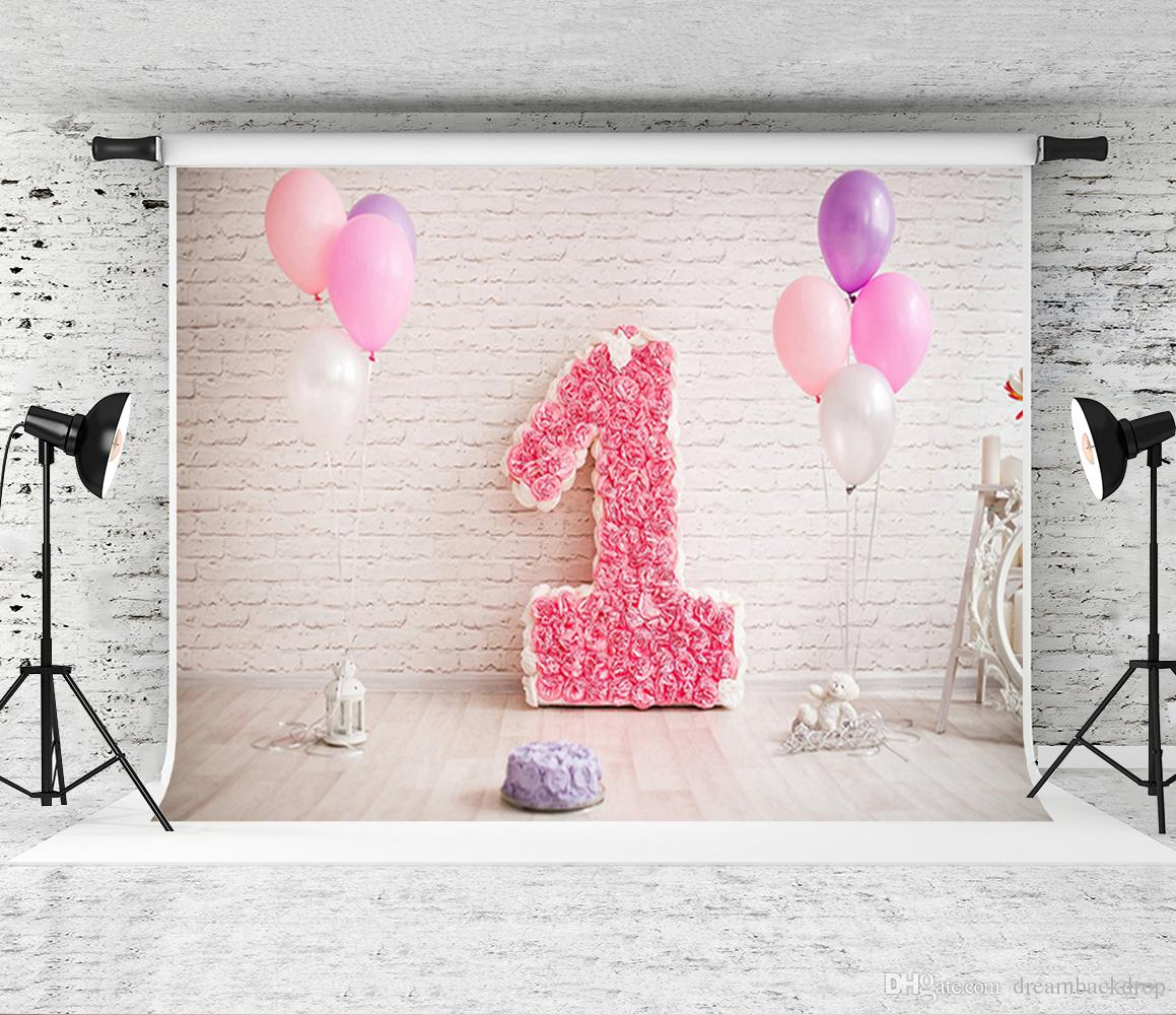 2019 Dream 7x5ft 220X150cm 1st Baby Birthday Party Backdrop Pink Balloons White Brick Wall Photography Background For Newborn Photo Studio Prop From