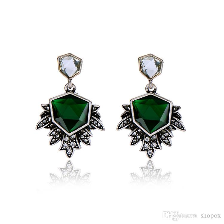 Exaggerated Irregular Emerald Pendant Female Earrings Personality Wild Cool High-end Jewelry Earrings New