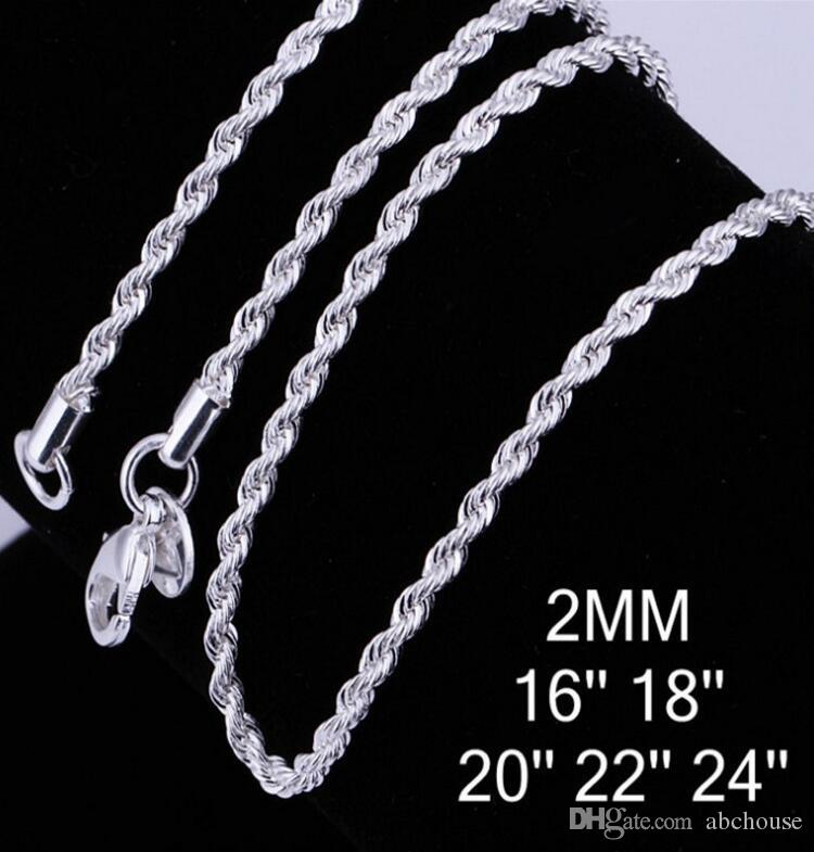 Fashion 925 Silver Chain Necklaces 2MM 16/18/20/22/24 inch Flash twisted rope Necklace 925 Sterling Silver Jewelry