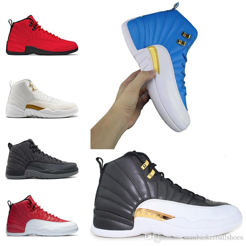 e2b856cb4a Großhandel Nike Air Jordan Retro Entwurfs Turnschuh Der Männer Beschuht  Basketball Schuhe 12 12s Weißes Turnhallenrot Gamma Blau Mailand Barons  Führen ...