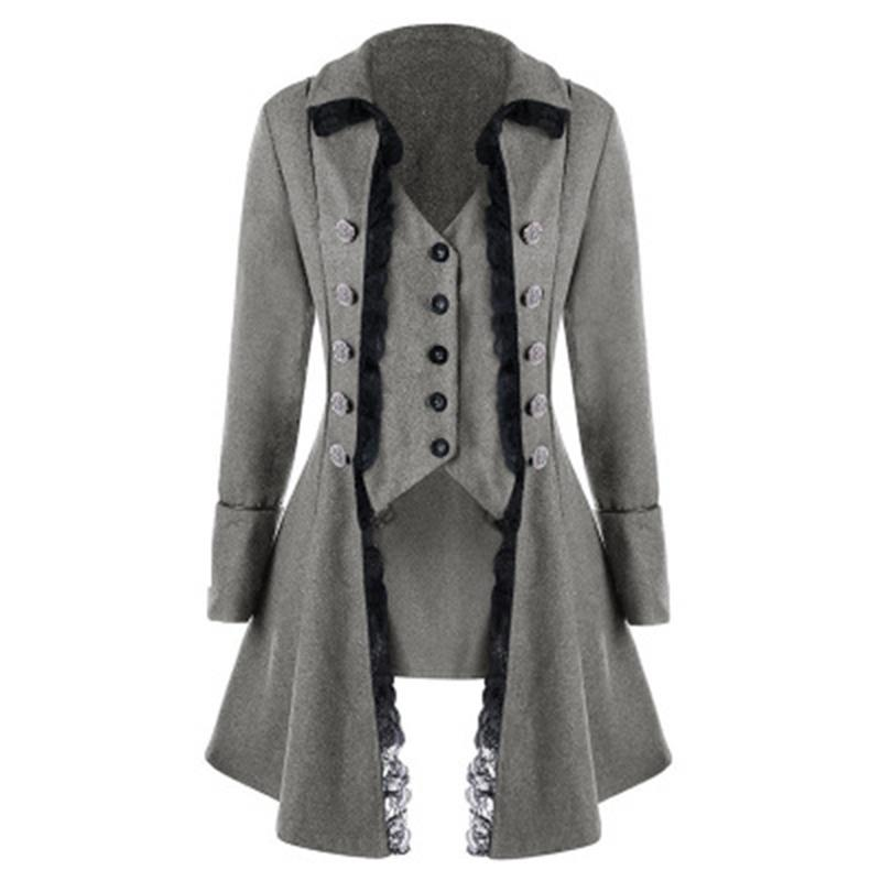 4d67a04a76d67 New Women Retro Tops Lace Button Decor Vintage Long Sleeve Victorian Coat  Gothic Corset Rock Women Cosplay Steampunk Jacket Cropped Jacket Brown  Jacket From ...