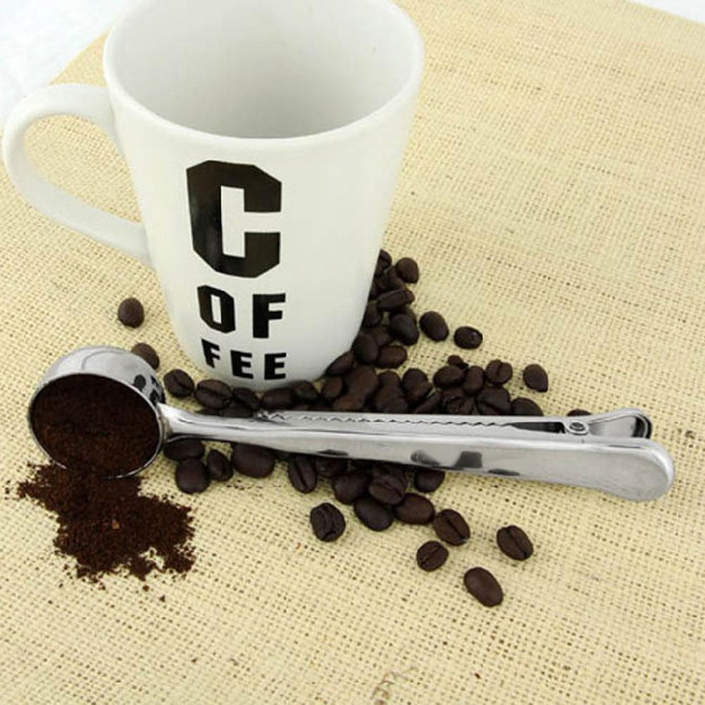 Silver Spoon Stainless Steel Ground Coffee Measuring Spoon Scoop High Quality With Bag Sealing Clip Coffee Spoon Drinkware Tools