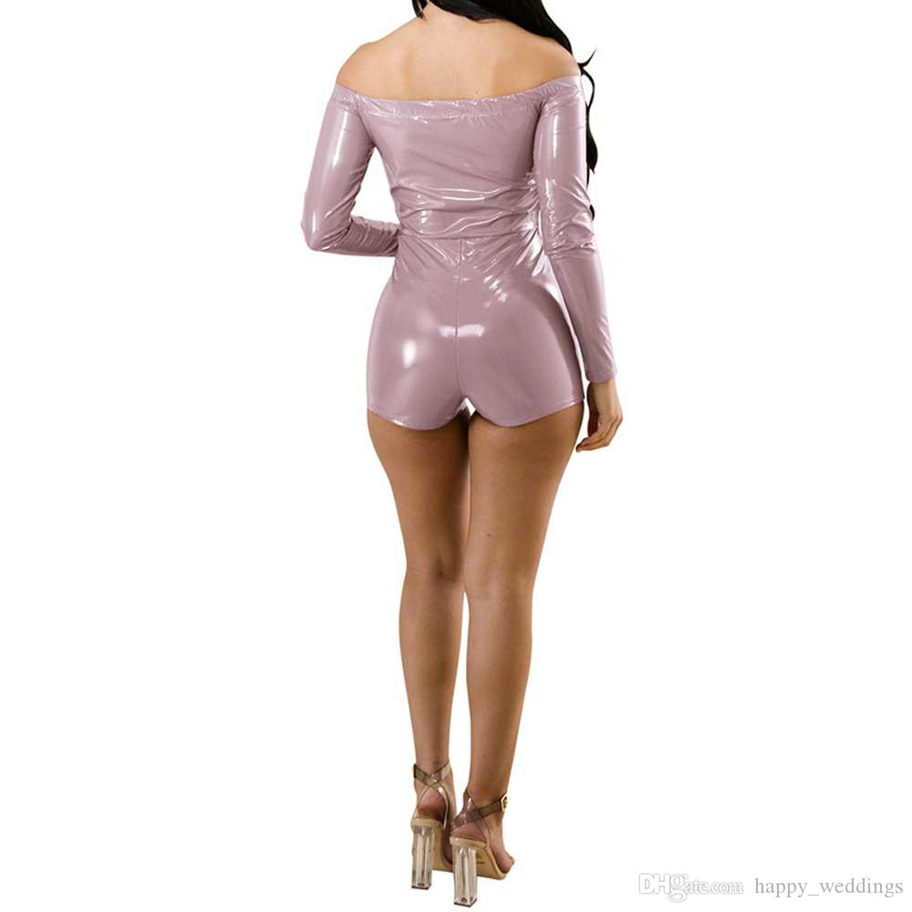 Off Shoulder PU Leather Sexy Playsuit Women Club Long Sleeve Slash Neck Zipper Skinny Women Rompers Backless Short Jumpsuit
