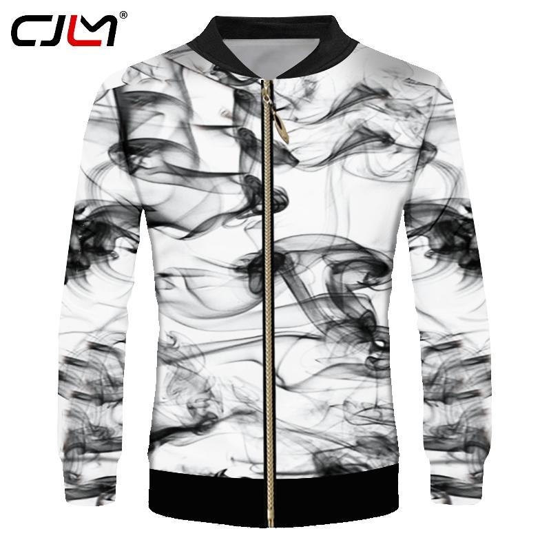 CJLM Hot Sale Men's Jacket Cool Print Acuarela Smoking Ink 3D Chaquetas Abrigos Hombre Hiphop Punk Chándales Stand Collar Abrigos