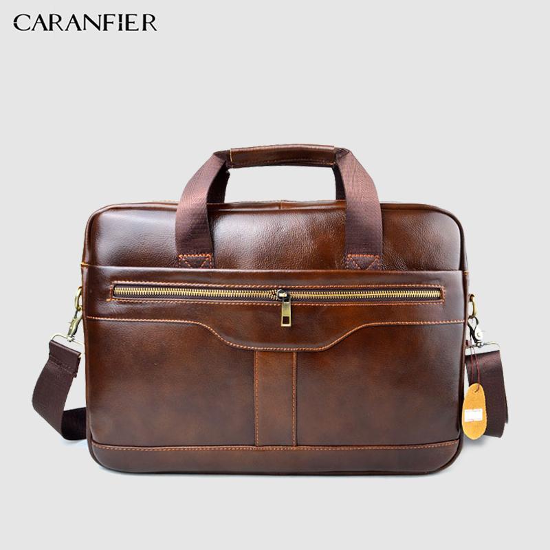 552de69039af CARANFIER Mens Genuine Cowhide Leather Briefcase Business Male Handbags  Laptop Bags Men Shoulder Zipper Fashion Travel Brown Bag Leather Laptop  Bags Leather ...
