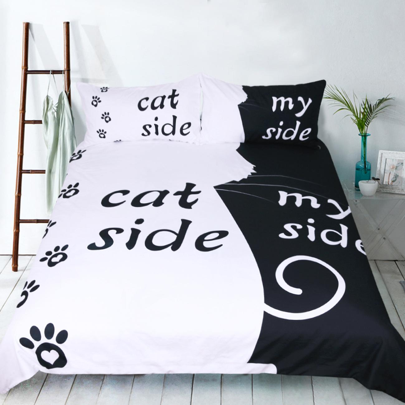 Black White Dog Cat Side My Side Bedding Sets Us Twin Full Queen King Size Bed  Linen Couples Duvet Cover Set Pillowcase Skateboard Bedding Embroidered  Duvet ...