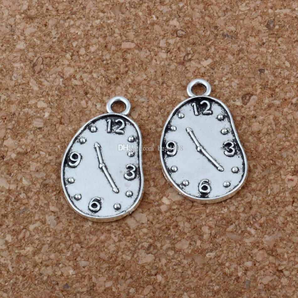 Melting Clock charm Pendant Hot sell Antique Silver alloy Jewelry DIY 13* 22mm A-203
