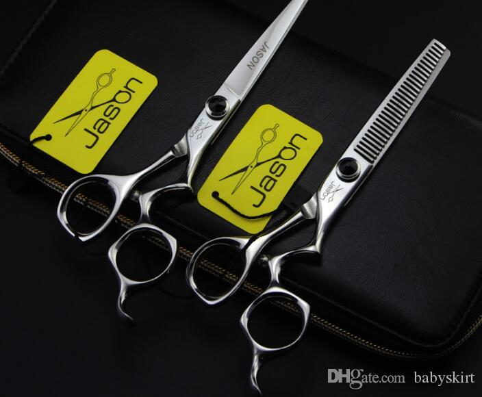 6inch Curved handle jason Hairdressing scissors flat teeth Thinning Hair Products Styling Tools barber scissor sets kits with comb bag