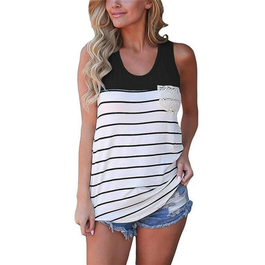 45998bf78232a4 2019 Women Tank Tops 2019 Summer Sexy Pack Hip Tank Top Women S Fashion  Stripe Lace Pocket Crop Top Sleeveless Slim Tops From Stephanie09