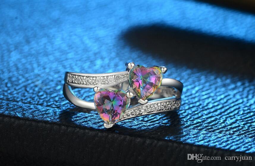 Горячие Продаем Мило Мода ювелирные изделия стерлингового серебра 925 двойные сердца Цвет Rianbow Бриллиантовые Женщины Свадьба обручальное кольцо диапазона для влюбленных подарков