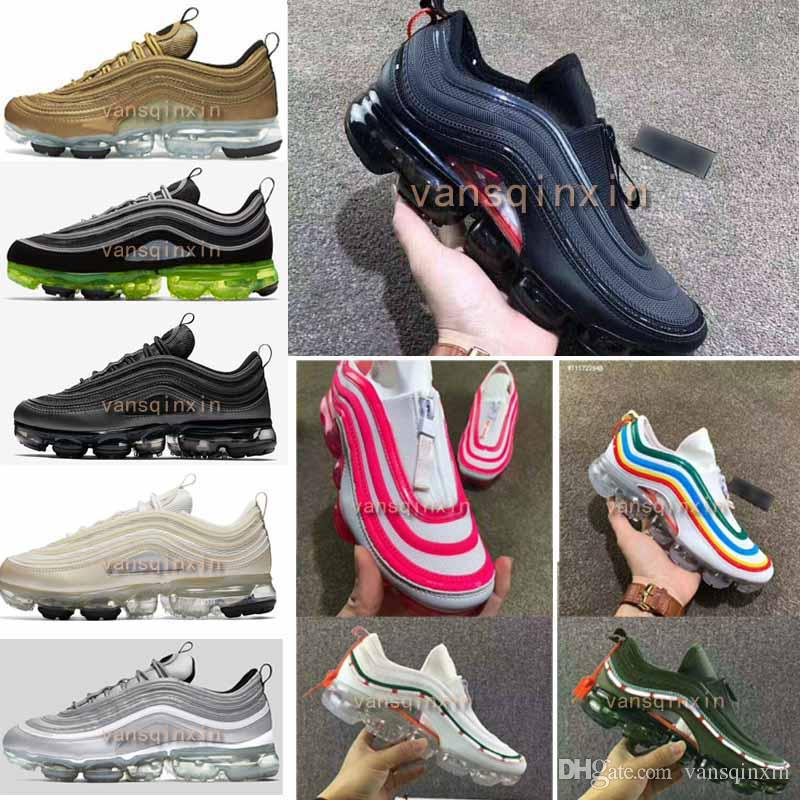 642ee4ac1016 New 97 Vapormax 97 Hybrid Black Reflect Silver Bullet Japan OG Running Shoes  For Men Women 2018 Gold Black Vapormaxes Sports Shoes Size36 46 Sports Shoes  ...