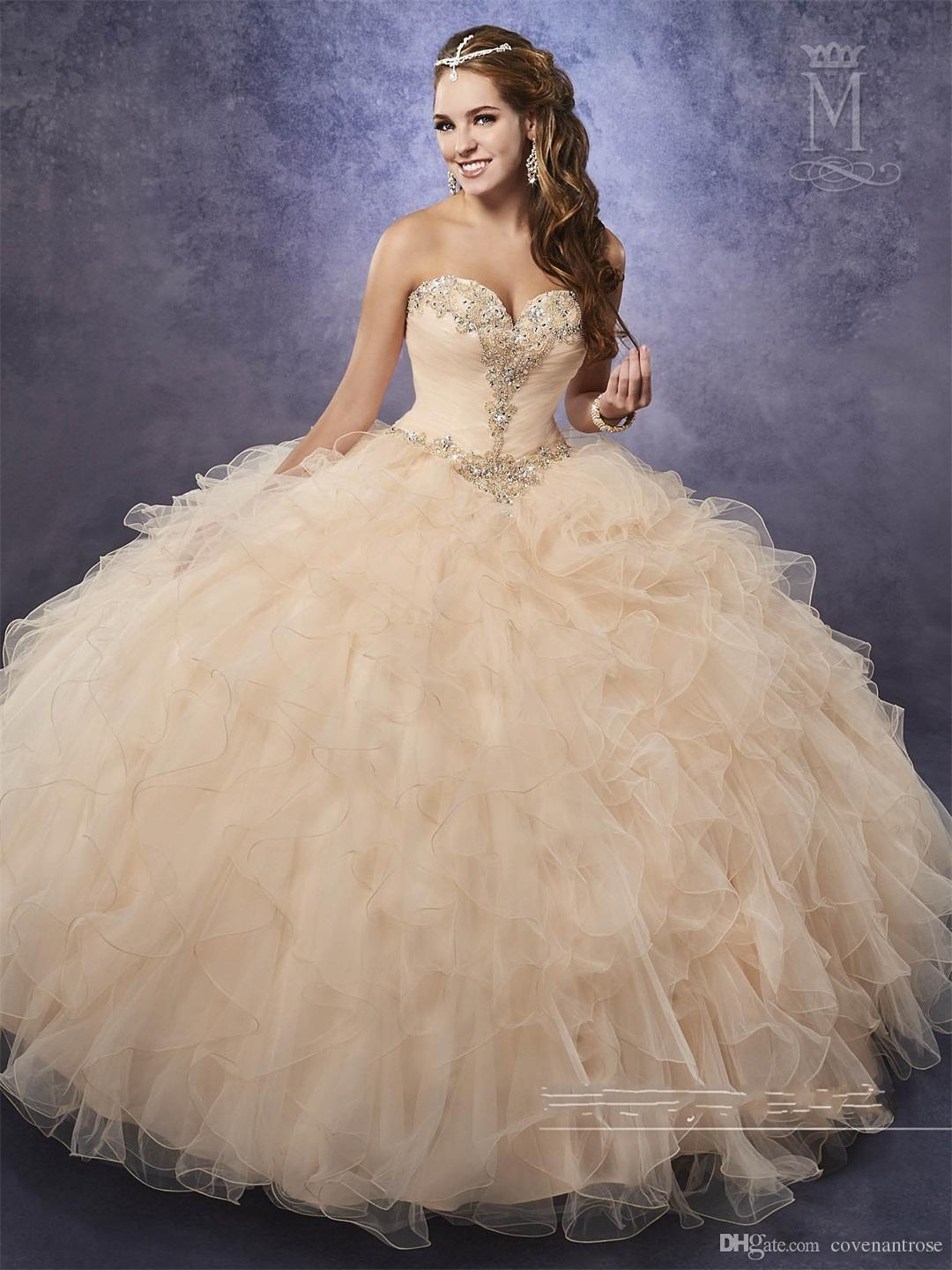 New Champagne Quinceanera with Detachable Straps Beaded Basque Waistline Ruffles Pink Sweet 16 Dress Lace Up Back Masquerade Gowns