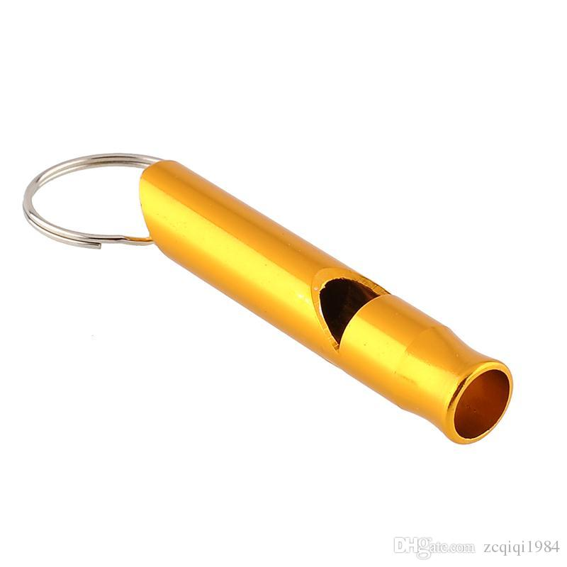 Mix Colors Mini Aluminum Alloy Whistle Keyring Keychain For Outdoor Emergency Survival Safety keychain Sport Camping Hunting