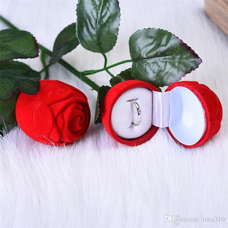 Charme rote rose blume ring box party hochzeit ohrring anhänger schmuck geschenk fall display pack boxen weihnachten spielzeug ib696