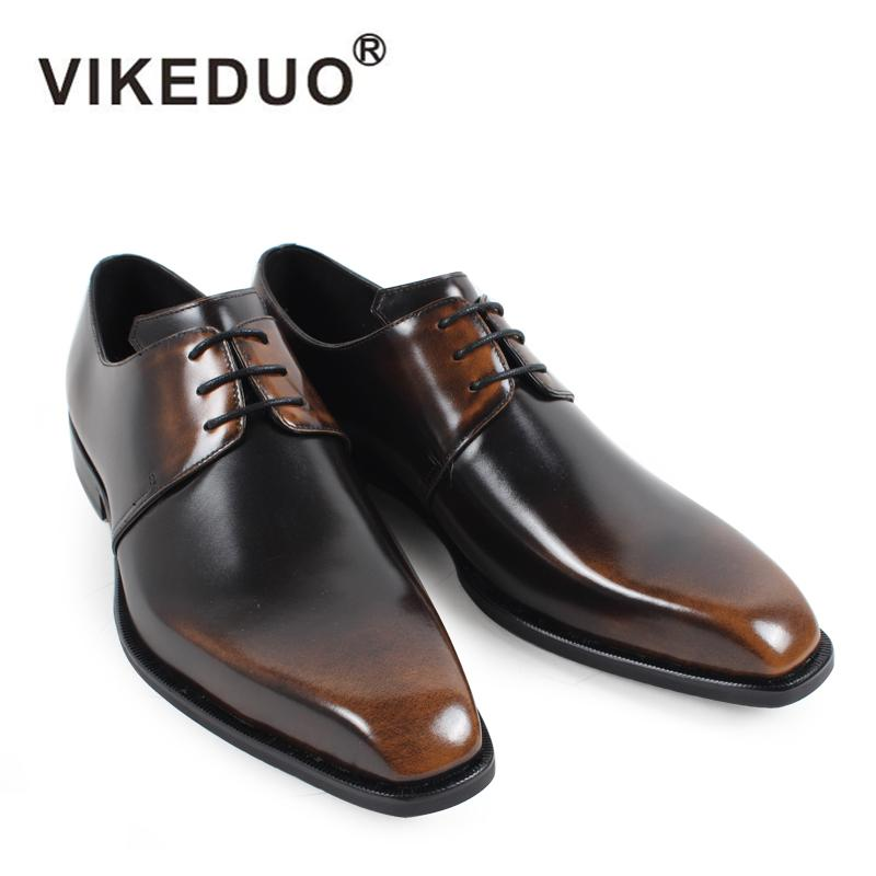 ddc864ed3 Compre VIKEDUO Zapatos De Vestir De Época Para Hombres 2018 Sólido Cuero  Genuino Oficina De La Boda Negocio Derby Zapato Masculino Zapatos Hechos A  Mano A ...