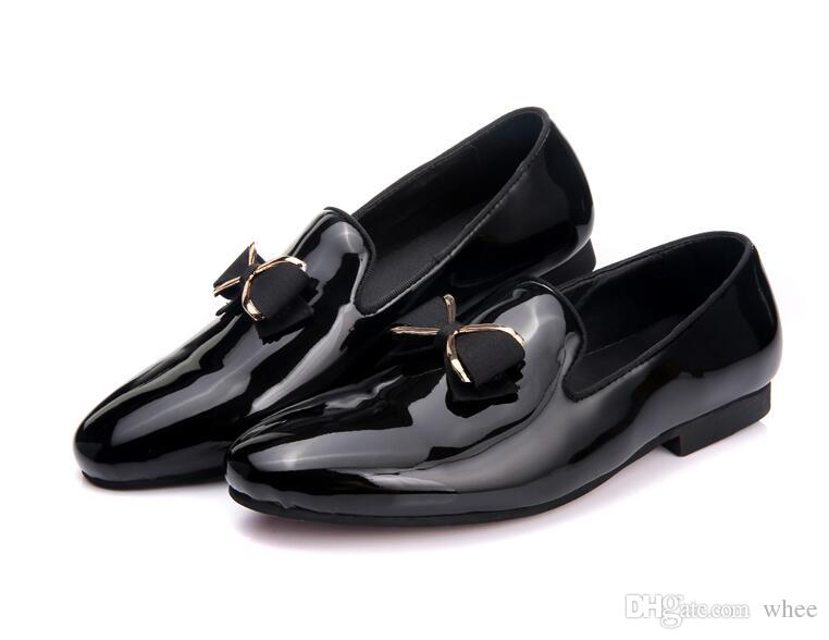 f72aa7916d11 2018 Mens Leather Loafers Black Wedding Shoes Shiny Dress Shoes Men Loafers  Men s Flats Plus Size US 7-10 109 Luxury Brand Men Dress Shoes Dress Shoes  ...