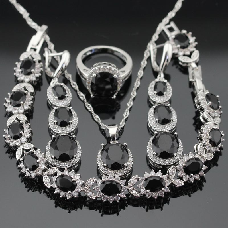 Women Silver Color Wedding Jewelry Sets Black Cubic Zirconia White CZ Necklace Pendant Bracelets Long Earrings Rings