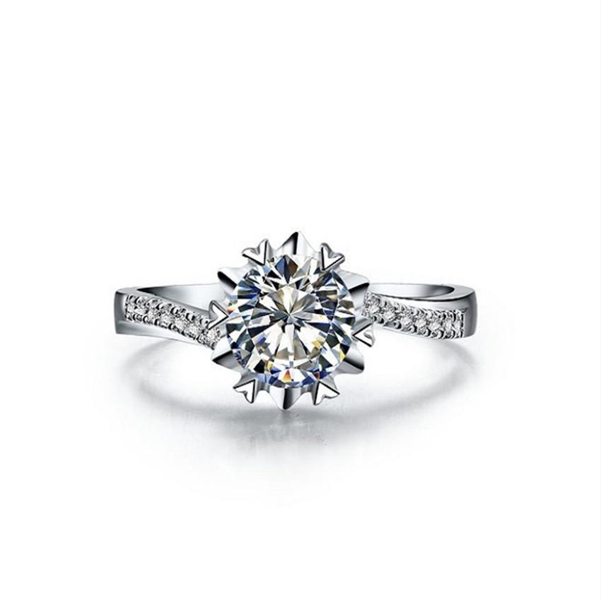 Pretty 0.5Ct 5.0MM G-H Round Cut Moissanite Diamond Ring Wedding Jewel CHARLES & COLVARD 925 Sterling Silver Ring