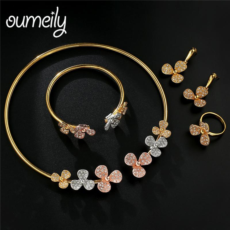 08be216950 2019 OUMEILY Colorful Flower Choker Necklace Set Rose Gold Silver Color  African Beads Austrian Crystal Jewelry Set Fashion Women From Zaonoodle, ...