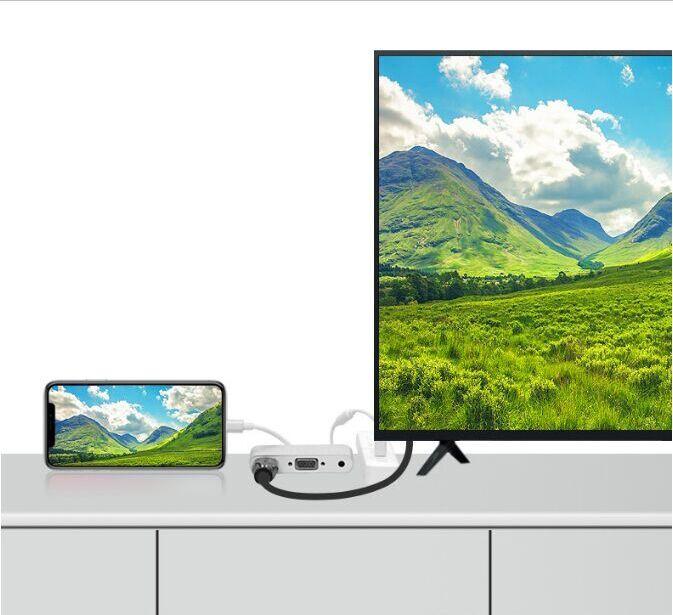 Adaptateur audio VGA Lightning vers HDMI Câble de connexion AV numérique pour iPhone, iPad, iPod vers projecteur Téléviseur moniteur, sortie HDMI VGA Même heure