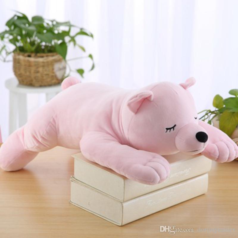 Dorimytrader lovely soft cartoon polar bear toy anime white bear doll animals pillow for children gifts decoration 55x30cm DY50166