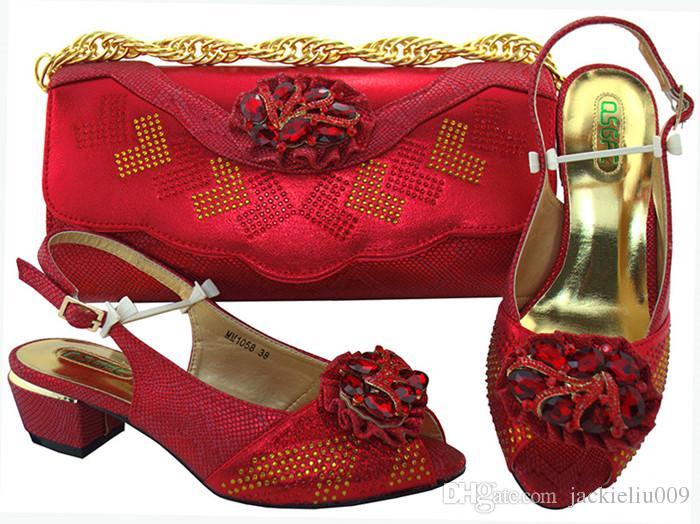 Maravilhosas senhoras roxas de salto baixo 4 CM sapatos com cristal e strass sapatos africanos jogo bolsa combinada para o vestido MM1058