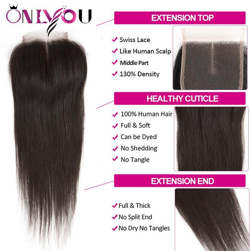 Бразильские прямые девственные пучки человеческих волос 3 пучки с 4x4 Топ кружева закрытие дешевые мокрые переплетения человеческих волос реми прямая поставка