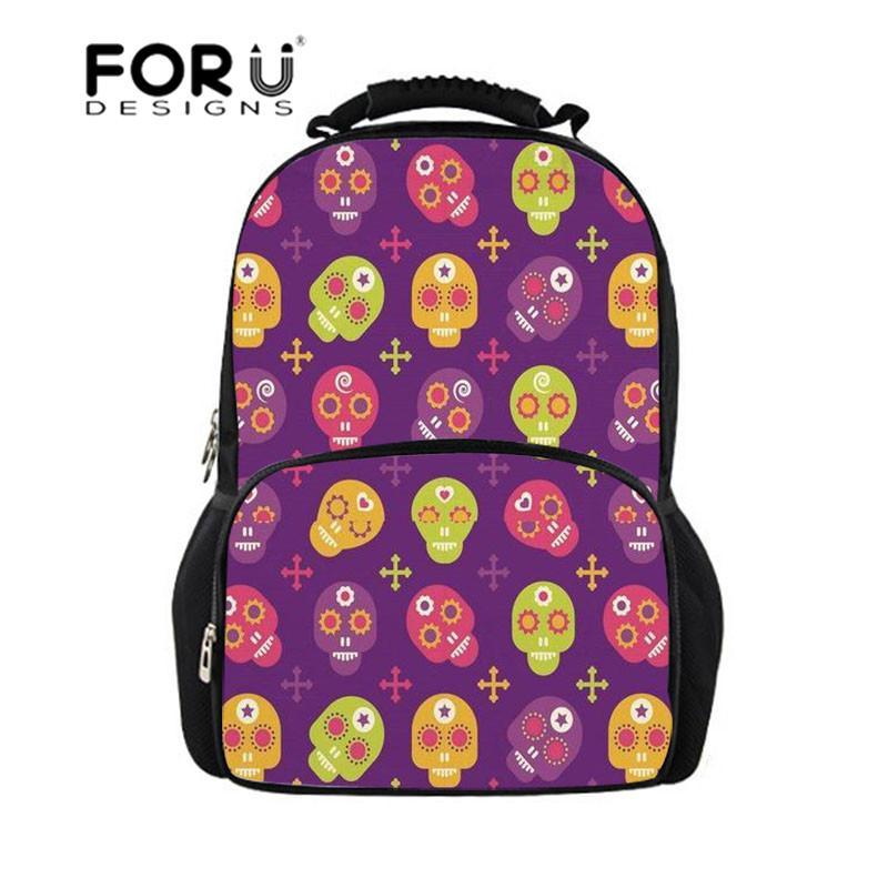 a3deaa1661de FORUDESIGNS School Bag Teen Backpack Cool Punk Skull Printing School  Backpack For Boys Orthopedic Schoolbag Junior Book Bags Kids Backpacks Back  Pack From ...