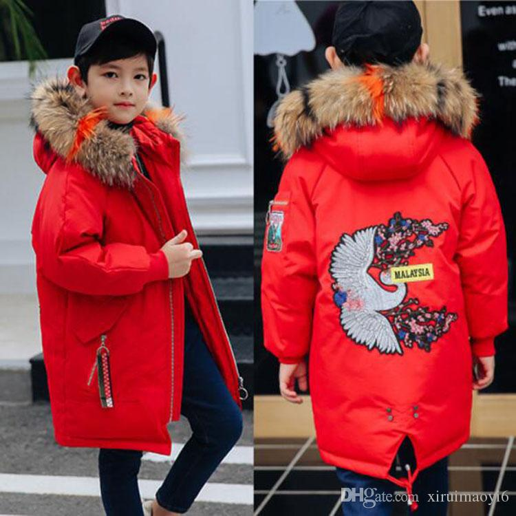 d9cec8c76258 New Jacket for Boys 2018 New Brand Hooded Winter Jackets Graffiti ...