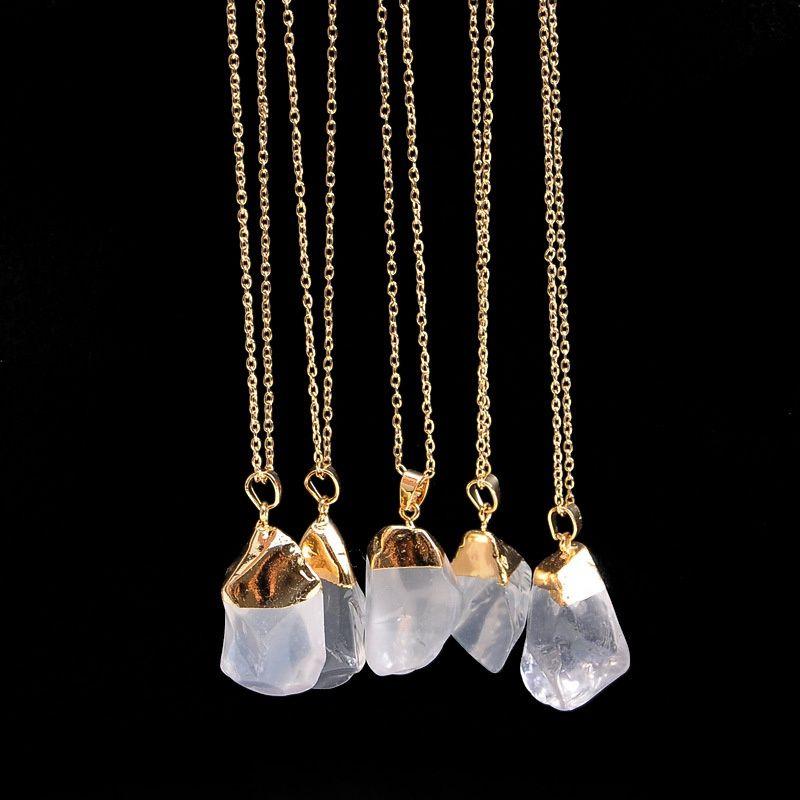 Sıcak Satış Kaba Druzy Kuvars Doğal Taş Kolye Altın Renk Kadınlar için Düzensiz Şekil Ham Taş Kristal Kolye Kuvars Kolye