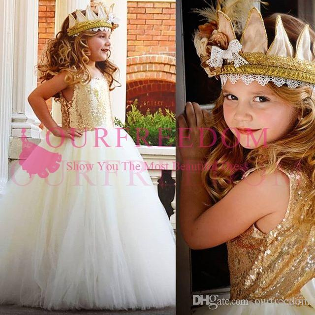 80c58603b5 2018 Sparkly Sequins Princess Ball Gown Flower Girls Dresses Gold Puffy  Tulle First Communion Dresses Girls Pageant Gown Custom Made Princess Dress  For Girl ...