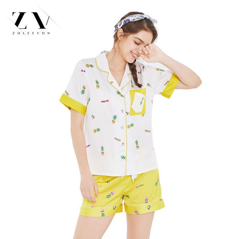 07249720fb1e 2019 Women Silk Cool Pajamas Sets Fruits Top Shorts Pineapple Sleepwear  Lingerie Half Sleeve Women Lingerie Satin Pajama From Lvzhiclothes002