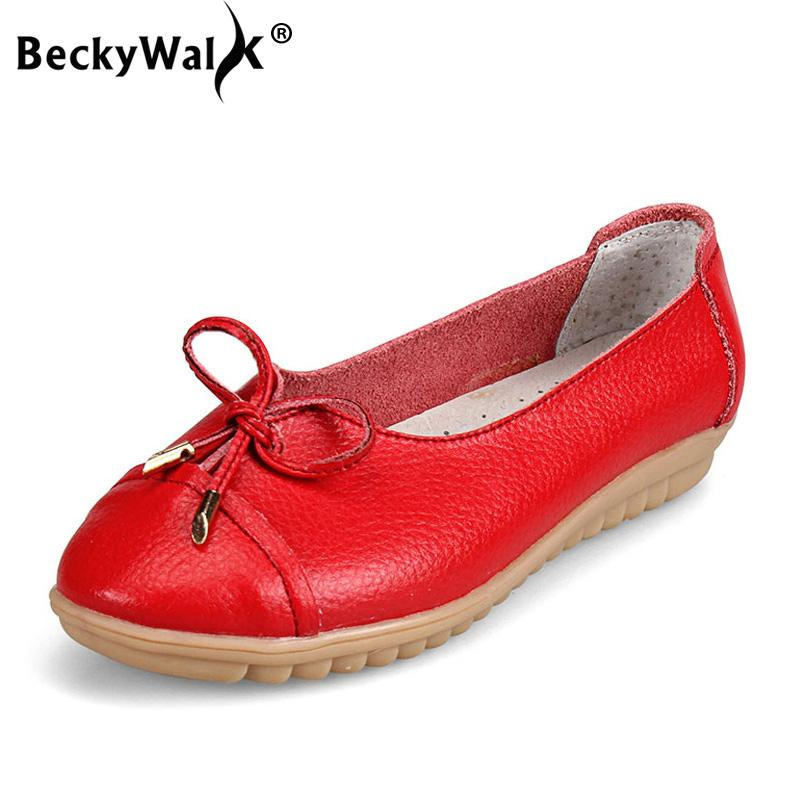 28009de61a9 Beckywalk Slip On Ballet Flats Women Shoes Genuine Leather Anti Slip Ladies  Casual Flat Shoes Female Loafers Big Size Wsh2709 Leopard Print Shoes White  ...