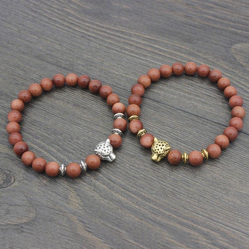 8mm Bead Stretch Bracelets Red Stone Beads Bracelets With Leopard Buddha Head Yoga Reiki Prayer Stone Bracelet G369S