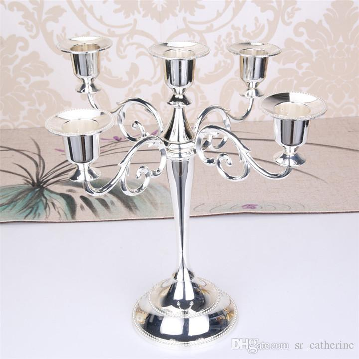 Vintage Metal Candlestick 5 Arms Vintage Candlestick Metal Crafts Candle Holder Stand Wedding Party Home Decor Gold
