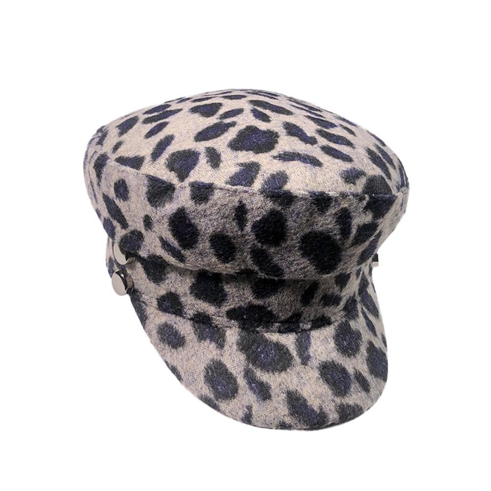 a373571d80d71 2019 Fashion Women Autumn Winter Beanie Hat Wool Leopard Print Flat Cap  From Ogfashion