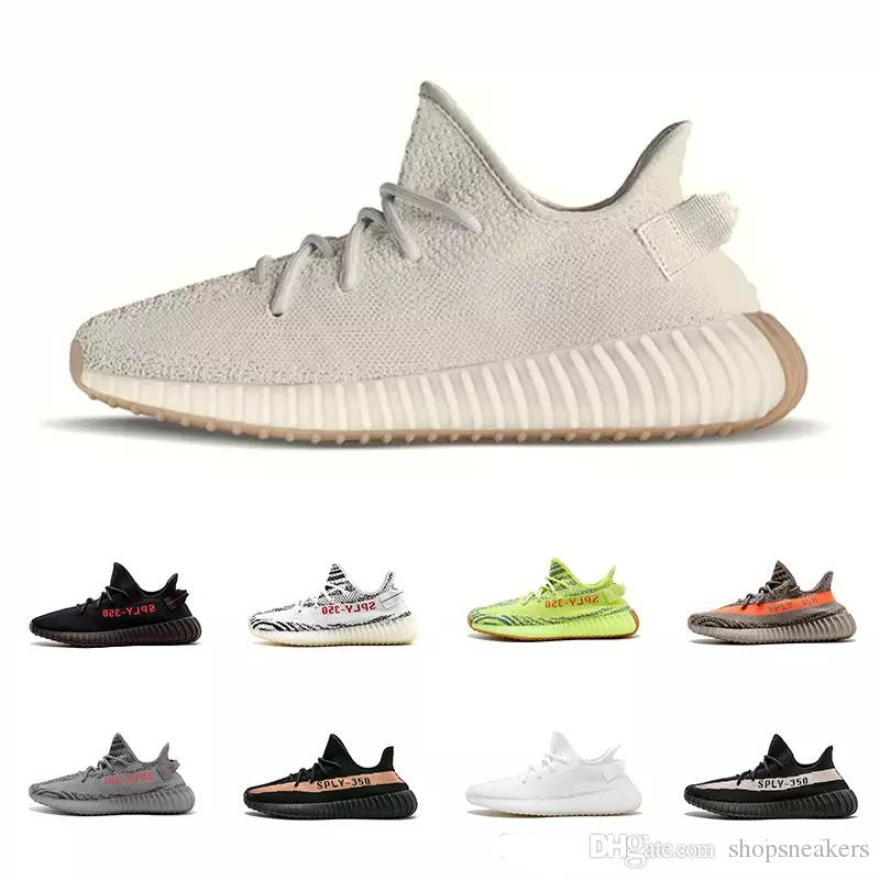 7fe828293 2019 With BoxSesame 350 V2 Butter Kanye West Sply 350 Running Shoes Cream Bred  Zebra Black Red Copper Beluga 2.0 Sports Sneaker From Shopsneakers
