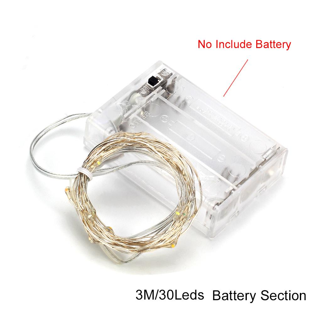 3M Copper LED string light Battery powered Fairy string Light for Party Wedding Christmas decoration light